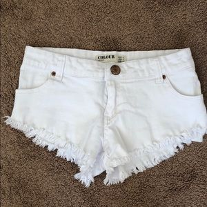 Cotton on white denim short shorts